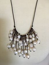 Natural Fresh Water Baroque Pearls Cluster Brown Leather Adjustable Necklace
