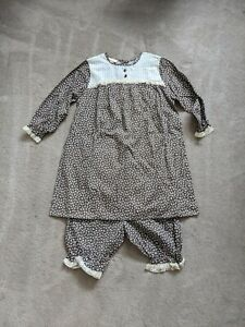 VTG Monique Crisp White Cotton Lace Ruffle Pajamas Top Shorts Bloomers NOS NWT