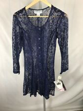 NOS Rampage Sheer Floral Dress Small Vtg 90s Blue  Size 7  (AG)