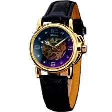 New Elegant Women Leather Skeleton Automatic Mechanical Womens Dress Wrist Watch