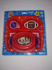Lil Pro Red 3 Section Plate And Bowl Set Football Theme Brand New Sealed