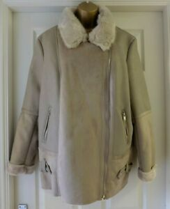 M&S Faux LEATHER Fur Lined SHEARLING Mink JACKET with Pockets UK 16  / EUR 44