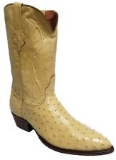 Mens Sand Full Ostrich Skin Cowboy Boots Exotic Genuine Leather J Toe Size 13