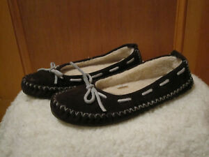 Womens LL BEAN Hearthside Fleece Lined Slippers Slip On Suede Moccasin BROWN 8M