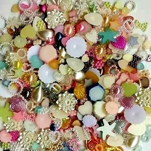 50 Mix Resin Embellishments Flatback Cabochons Flower Heart Bow Star Half Pearl