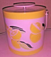 Morgan Designs:Bucket Brigade-Yellow & White Lemon Themed-Ice Bucket-Vintage