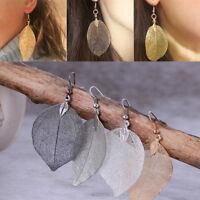 Women's Natural Leaves Real Long Dipped Leaf Dangle Earrings Hook Studs C