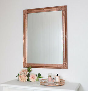 Large Ornate Copper Wall Mirror metallic bathroom bedroom french vintage shabby