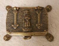 VINTAGE WELSH BRASS TRINKET BOX ~JENNY JONES ~ MAID OF LLANGOLLEN