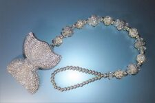White Silver Shamballa Bow Luxury Special Crystal Bling Baby dummy clip chain