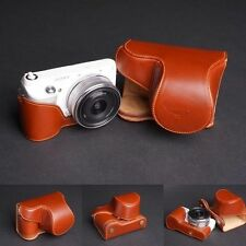 Genuine real Leather full Camera Case bag cover for Sony NEX F3 NEX-F3 16mm lens