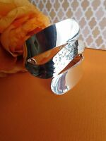 Mexico Taxco Mexican Sterling silver 925 Modern hammered  heavy cuff bracelet