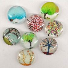 Lot de 6 cabochons ronds diamètre 18 mm en verre motif arbre-cab215