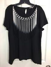 ROZ & ALI Sz L Black Ombré Tassel Embellished Short Sleeve Shirt Top Blouse