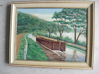 Vintage 1944 Hemmerly Signed Oil Painting Man on Barge on Canal Framed LOOK