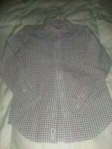 Janie And Jack Size 6 cranberry and gray checks shirt