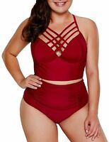 Dearlove Women's Plus Size Strappy High Waist Bikini Swimsuit XXL 18W-20W New