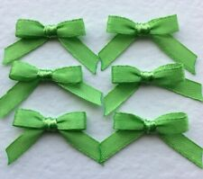 10 Pretty Apple Green 6mm Ribbon bows - card making/scrap booking -UK charity