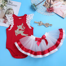 Infant Baby Kids Girl Deer Romper Jumpsuit+Tutu Skirt+Headband Set Christmas