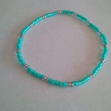 Seed Beads Turquoise/ Light Gray  Stretch Anklet