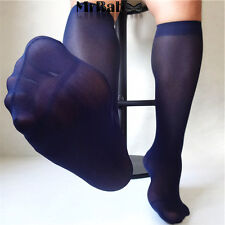 NEW 4Pairs Pack Men's Over the Calf Solid Color Silky Sheer Casual Dress Socks