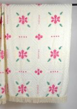 Vintage Floral Off White Chenille Bed Spread Blanket Cover Queen 94 x 118