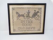Vtg 1930's framed Cross Stitch sampler horse & carriage In the Good Old Days 307