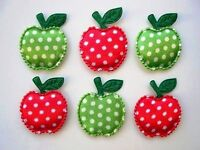 """60 Green & Red Apple Fabric 3/4"""" Applique/Satin Polka Dot/Sewing/Trim/Craft H201"""