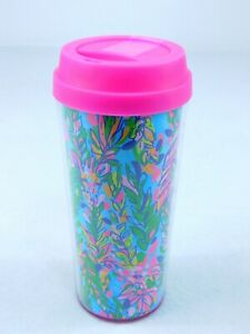 Lilly Pulitzer Travel Tumbler Thermal Mug Coffee Cup WILD CONFETTI Pink Blue