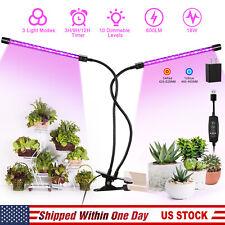 Plant Grow Light Gooseneck Dual Head LED Hydroponics Gardening Timer Dimmable