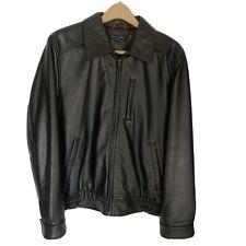 Tommy Hilfiger Men's Black Leather Jacket Size Medium