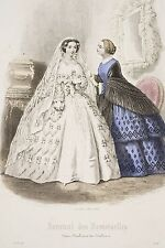 Robe de Mariée Robe Bleue Gravure aquarellée MODE 1856 Journal des Demoiselles