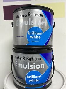 Kitchen & Bathroom Brilliant White Walls & Ceilings Water Based Paint 2.5L X 2