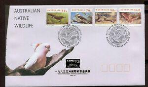 AUSTRALIA 1993, WILDLIFE: BIRDS, ANIMALS, Scott 1273, 1282, 1284,1286, on  F.D.C
