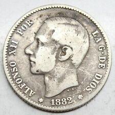 ESPAÑA ALFONSO XII 1882 MSM 1 PESETA MONEDA PLATA MBC-