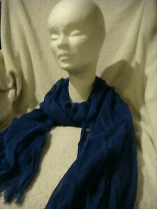 Soft Long cotton Scarf in Navy Blue