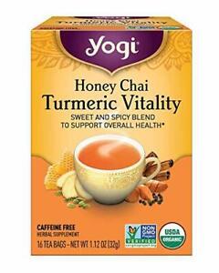 Yogi Honey Tea Chai Turmeric Vitality Sweet Spicy 16 Bags - 1 Box 6/22 NEW