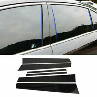 6PCS Glossy Black Window Center Pillar Posts Trim Fits Honda Accord 2008-2012