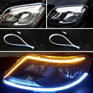 2X 30/45/60CM Flexible Tube LED Strip DRL Daytime Running Light Turn Signal Lamp