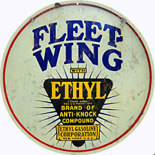 Fleet-Wing Ethyl Gasoline Station  Garage Art Reproduction Round Sign
