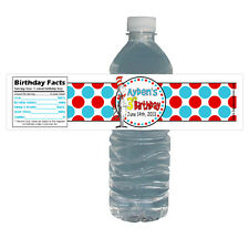 Cat in the Hat 10ct Water Labels Water Proof Dr Seuss Birthday Party Bottle