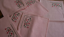 6 serviettes anciennes  coton rose,N°245  broderies, linge de table