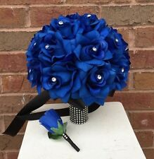 2pcs set:Bridal bouquet&boutonniere:Royal blue-RHINESTONE VERSION