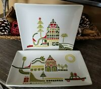 "CRATE & BARREL Lot Yule Town Christmas 8"" Square Plate + Appetizer Julia Rothman"
