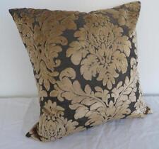 Golden Tan/Charocal Acanthus Classic Velvet Cushion Cover ~ 45cm