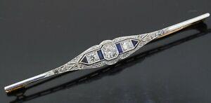 Antique Platinum/18K gold 1.4CT diamond/sapphire filigree bar brooch w/.30CT ctr