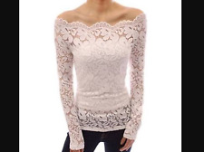 Stylish Slash Collar Off-The-Shoulder Long Sleeve Solid Color Lace Women's T-Shi