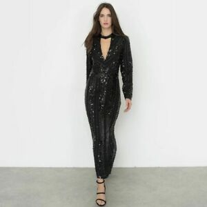 DRESS SIZE 10 BY INES OLYMPE MERCADAL MAXI HEAVILY SEQUINNED FULLY LINED BLACK