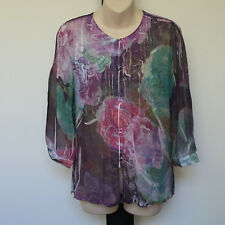 'ORIENTIQUE' EC SIZE '10' MULTI PRINT SHEER FLORAL BUTTON FRONT 3/4 SLEEVE TOP