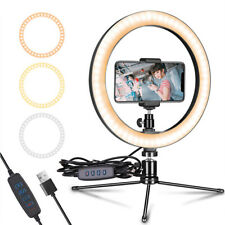 "LED 10"" 12"" Desktop Selfie Ring Light with Tripod Stand for YouTube Video Makeup"